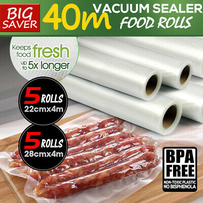 10 X Vacuum Food Sealer Rolls Saver Bag Storage Commercial Heat Grade 22Cm 28Cm