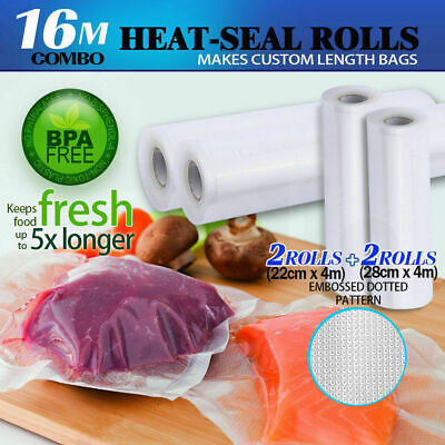 4x Vacuum Food Sealer Roll Bags Saver Seal Storage Commercial 28cm 22cm