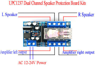 New UPC1237 Dual Channel Speaker Protection Board Kits Boot  Delay AC12-24V 200W