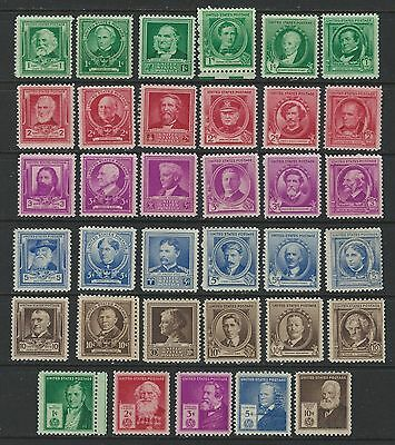 US Stamps: 859-893 Famous Americans set.  Mint, o.g., Never Hinged (cv$32.50)