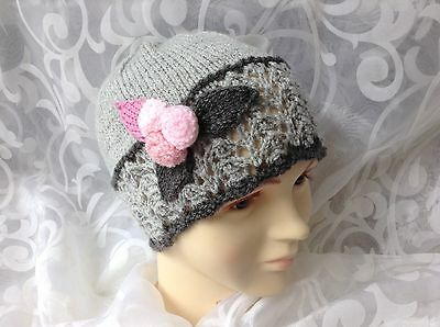 Hand Knitted Baby Beanie Hat Grey And Pink Lacy Rose Newborn-3-4Yrs New Girl