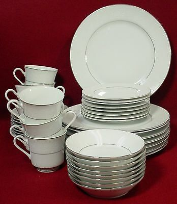 SALEM china LACE BOUQUET platinum 40-pc SET SERVICE for EIGHT American Limoges