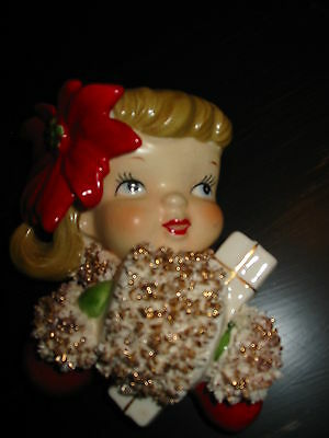 Vintage Christmas Norcrest P-316  Wall Pocket Girl with Poinsettia & Hand Muff