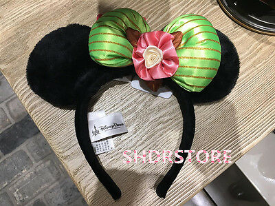 SHANGHAI DISNEYLAND DISNEY PARK VINTAGE MINNIE Green Headband hat SHDR