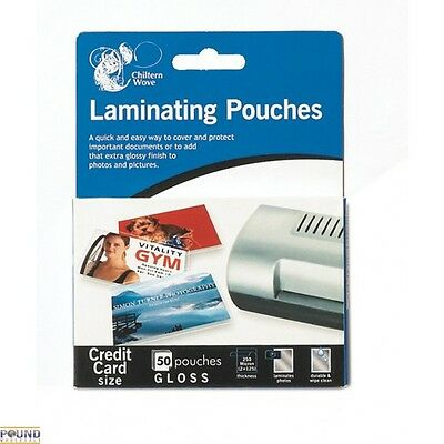 50x Chiltern Wove Laminating Pouches High Quality Wipe Clean Surface 60x95mm