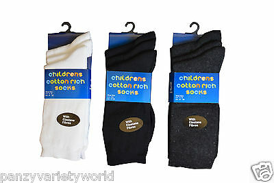 12 Pairs Girls Boys Childrens Kids Plain Cotton Rich Ankle Socks Back To School
