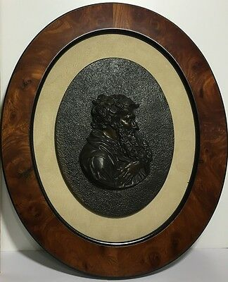 Antique Signed Framed Bronze Plaque Of Old European French Man. Rich Details.