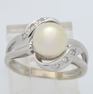 Estate Pearl Diamond Ring Solid 14K White Gold Cocktail Size 4.75 (Gp2001599)