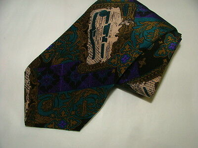 Mens Brioni Tie 100% Silk  Made In Italy Green Purple Floral Prints #037