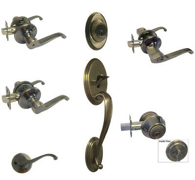 Antique Brass door knobs lever keyed entry privacy passage dummy deadbolt 835