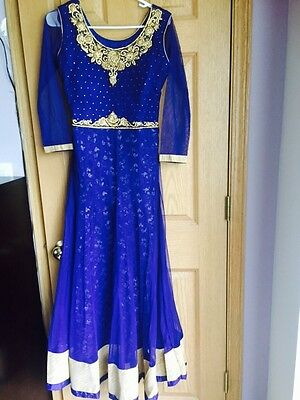 Indian Designer Bollywood Fancy Party Blue Color Long dress Gown