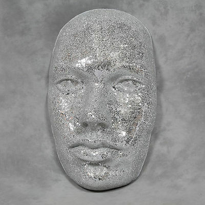 Large Silver Crackle Mosaic Sparkly Face Wall Decor Truly Stunning Piece