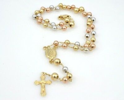 """Solid 14K Gold Rosary Tri Color Catholic Bead Mary 4 Decade 16.5"""" (44057-11)"""