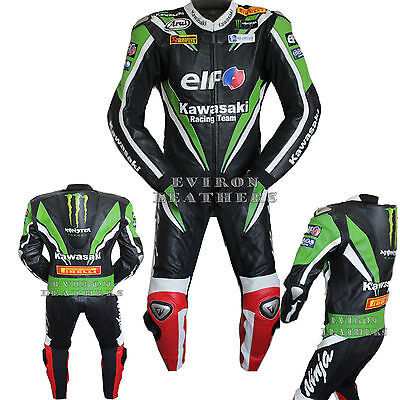 Black Green Elf Motorcycle / Motorbike Leather Suit - 2016 Design.