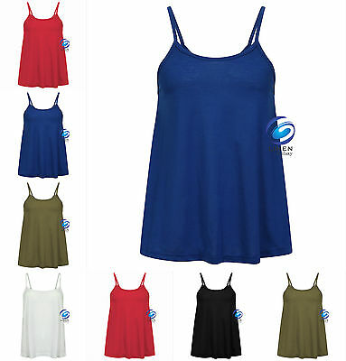 New Women's Ladies Cami Sleeveless Swing Vest Top Strappy Plain Flared Summer