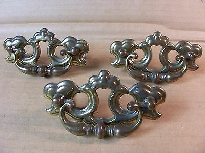 (3) Vintage Brass Finish Drawer Pulls / Handles--Original Screws Included
