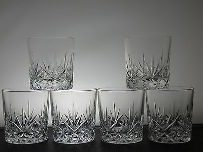 "Edinburgh Crystal""romeo"" Pattern Tumblers/glasses Set Of 6"