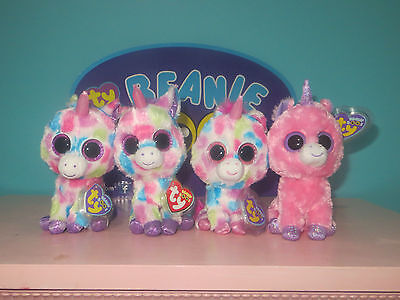 "Nwt Ty Lot Beanie Boo's 6"" Unicorns Wishful Magic Skylar Heart Tags"