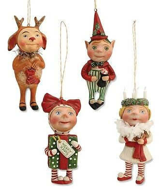 CHRISTMAS SURPRISE ORNAMENTS - Reindeer Elf Present Wreath Girl by Bethany Lowe