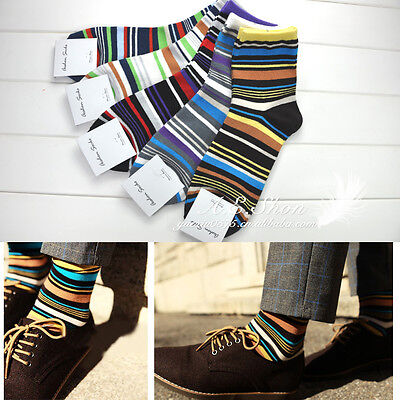 Lot 5 Pairs Men's Designer Fashion Dress Socks Casual Striped Style Multi Color