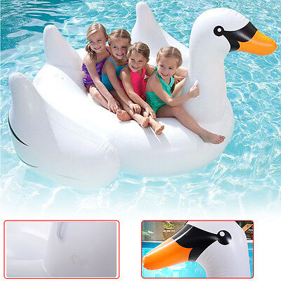 Rideable Swan Inflatable Float Raft Toy Summer Lake Swimming Lounge Pool Kids