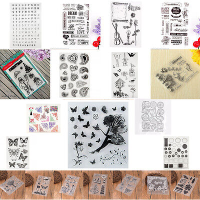 DIY Rubber Stamp Butterfly Silicone Transparent Stamp Scrapbooking Alphabet