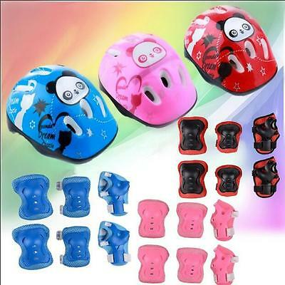 7631 Kid 7PCS Skating Protective Gear Safety Helmet Children Knee Elbow Pads Set