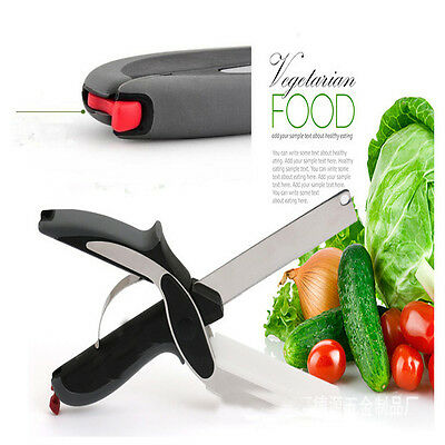 Fresh Clever Cutter Kitchen Scissors 2-in-1 Knife Food Chopper Cutting Board UK