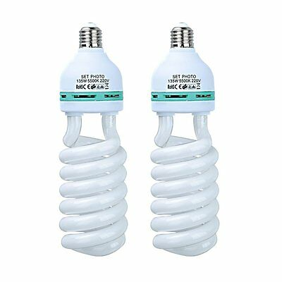 2X 135W 220V E27 Photo Studio Continuous Light Tricolor Energy Saving Bulb