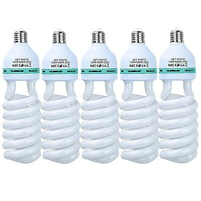 5X 135W 220V E27 Photo Studio Continuous Light Tricolor Energy Saving Bulb