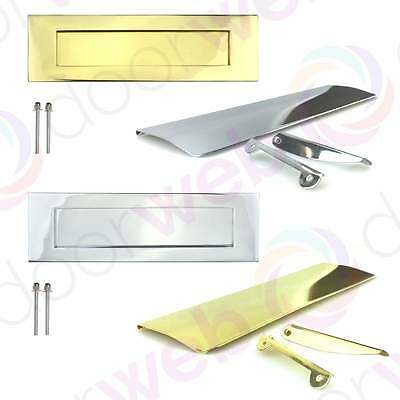 LETTER PLATE BOX TIDY FLAP Door Letterbox Wood Doors Flap Chrome Brass