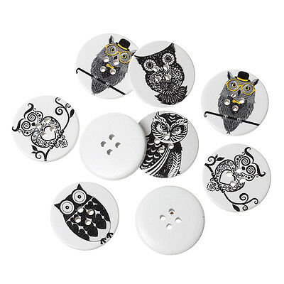 10 Pretty Black and White with a hint of colour Wooden Owl Buttons 30mm 3cm