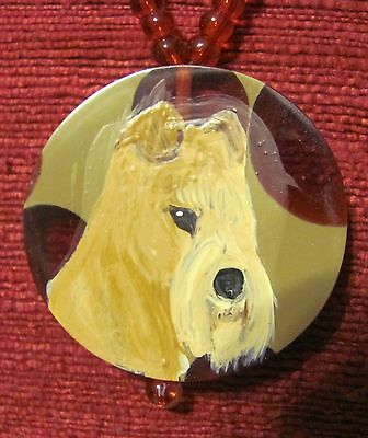 Lakeland Terrier hand painted on round composite pendant/bead/necklace