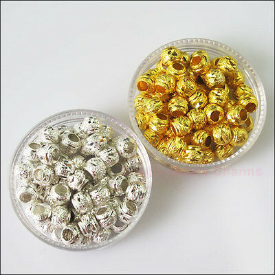 25 New Charms Gold Silver Plated Copper Round Stardust Ball Spacer Beads 6mm
