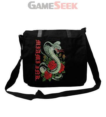 Miami Ink Snake And Rose Tattoo Messenger Bag, Black (Mb106569Mik) Brand New