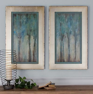 Large Aged Frames Oil Reproduction Hand Finished Trees Painting Tuscan Wall Art