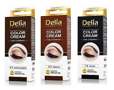 DELIA Henna Color Cream for Eyebrows Tint Kit Set - Dark Brown, Brown, Black
