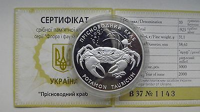2003 Ukraine 10 Hryven Freshwater Crab Silver Proof Coin w/ CoA!