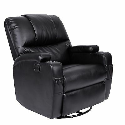 Cherry Tree REAL LEATHER SWIVEL LATCH RECLINER ARMCHAIR SOFA WITH CUP HOLDERS