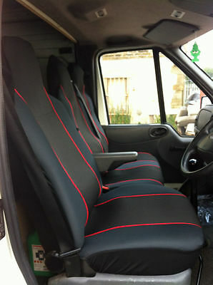 Renault Trafic 2016 Deluxe Red Piping Van Seat Covers 2+1