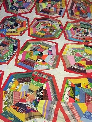 Handmade Country Home Shabby Chic Twin Size Quilt Scrap Star Patchwork Red