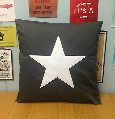 Grey White Star Cushion Cover Retro Novelty Pillow Modern 14 16 18 20 22 24 inch