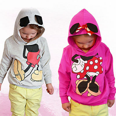 Kids Girls Casual Hoodie Jumper Top Long Sleeve 3D Minnie Mickey Cartoon Clothes