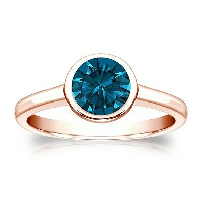 3 Ct Round Cut Blue Solitaire Bezel Engagement Wedding Ring Real 14K Rose Gold