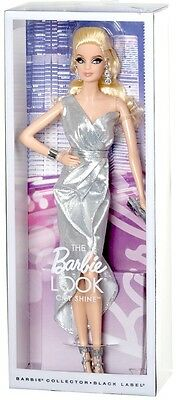 Barbie Collector Model Muse The Look City Shine Sliver Dress Black Label NEW