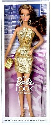 Barbie Collector Model Muse The Look City Shine Golden Dress Black Label NEW