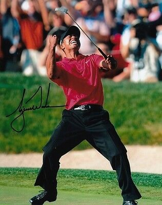 TIGER WOODS GOLF MASTERS OPEN CHAMPION SIGNED 10x8 INCH LAB PRINTED PHOTO