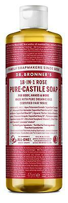 Dr Bronner Rose Castile Liquid Soap - 473ml