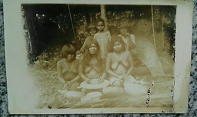 Antique Photo Postcard Peru Native Nude Risque Amazon Native Indian Forrest....
