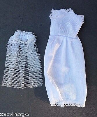 Vintage 1950's White Lace Wedding  Dress Doll Play Clothes / Clothing